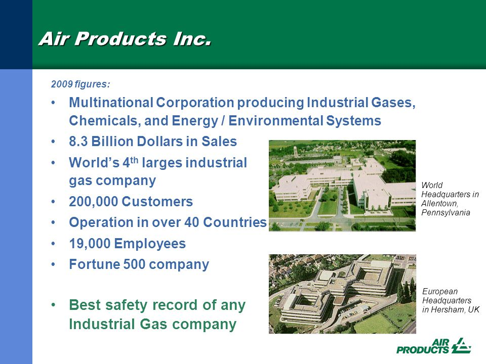 Air Products Overview Corporate Business Mix •Merchant Gases •Tonnage Gases •Electronics and Performance Materials •Equipment and Energy FY'08 Consolidated Sales by Reporting Segment Tonnage (35%) Electronics & Performance Materials (21%) Merchant (40%) Equipment & Energy (4%)