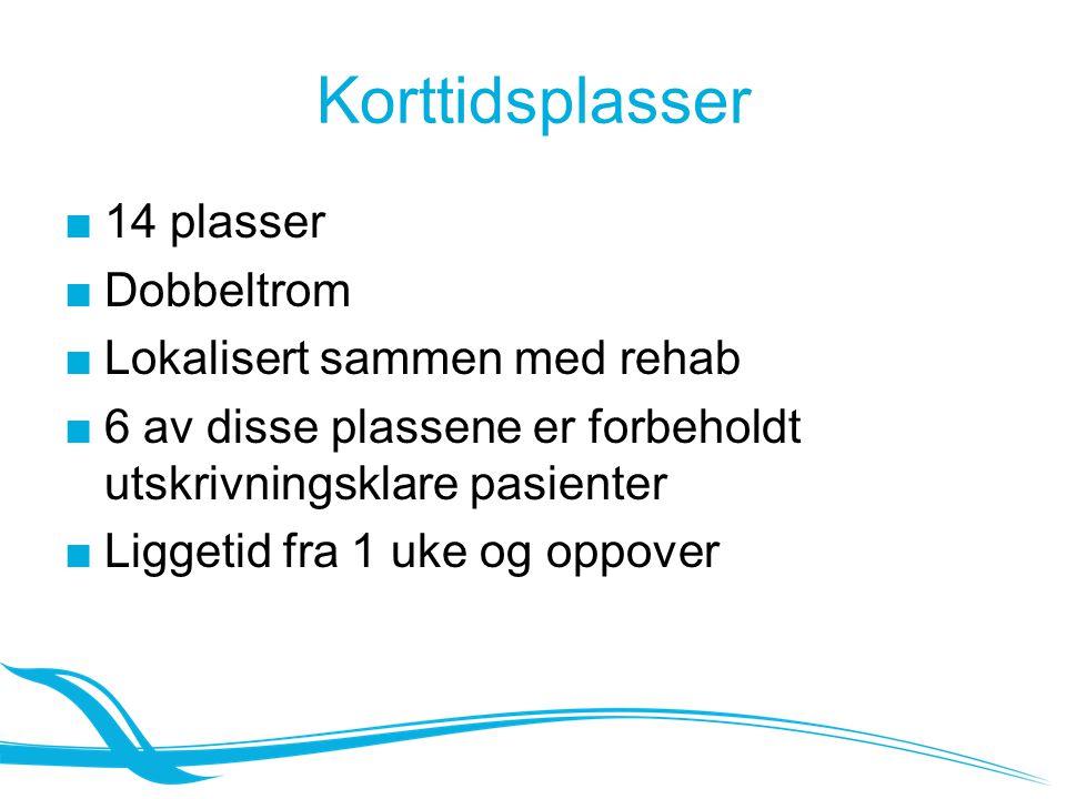 Korttidsplasser ■14 plasser ■Dobbeltrom ■Lokalisert sammen med rehab ■6 av disse plassene er forbeholdt utskrivningsklare pasienter ■Liggetid fra 1 uk