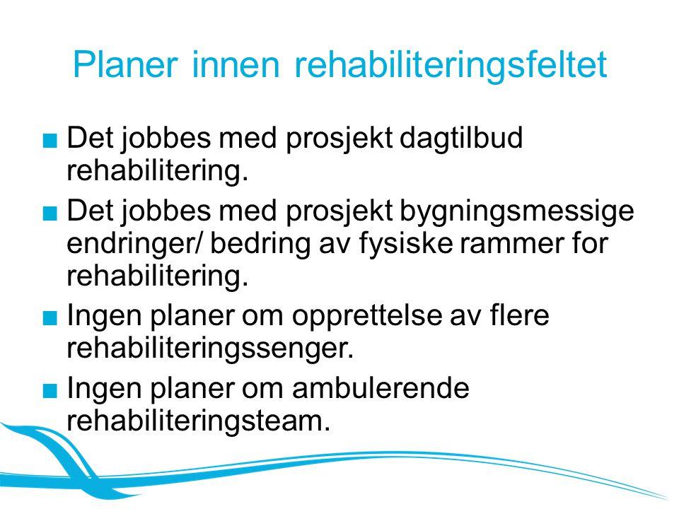Planer innen rehabiliteringsfeltet ■Det jobbes med prosjekt dagtilbud rehabilitering. ■Det jobbes med prosjekt bygningsmessige endringer/ bedring av f
