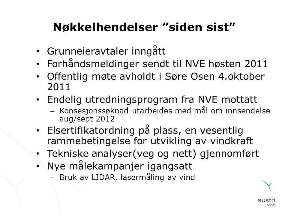 """Nøkkelhendelser """"siden sist"""" • Grunneieravtaler inngått • Forhåndsmeldinger sendt til NVE høsten 2011 • Offentlig møte avholdt i Søre Osen 4.oktober 2"""