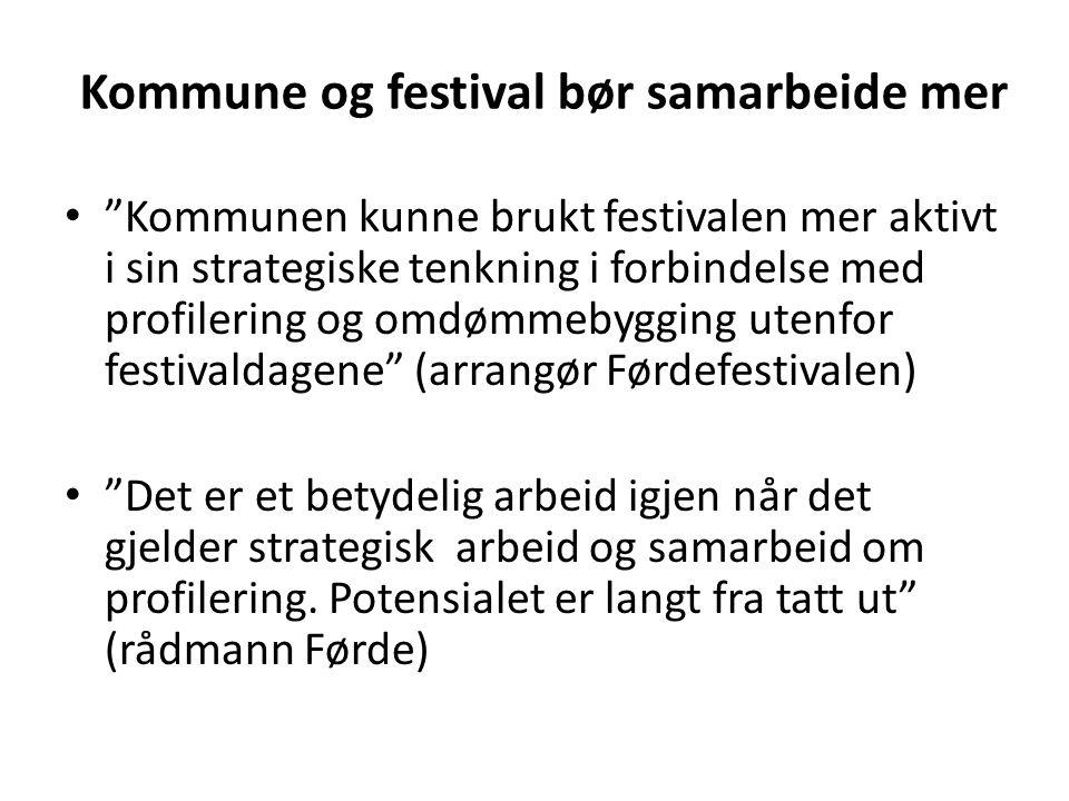 """Kommune og festival bør samarbeide mer • """"Kommunen kunne brukt festivalen mer aktivt i sin strategiske tenkning i forbindelse med profilering og omdøm"""