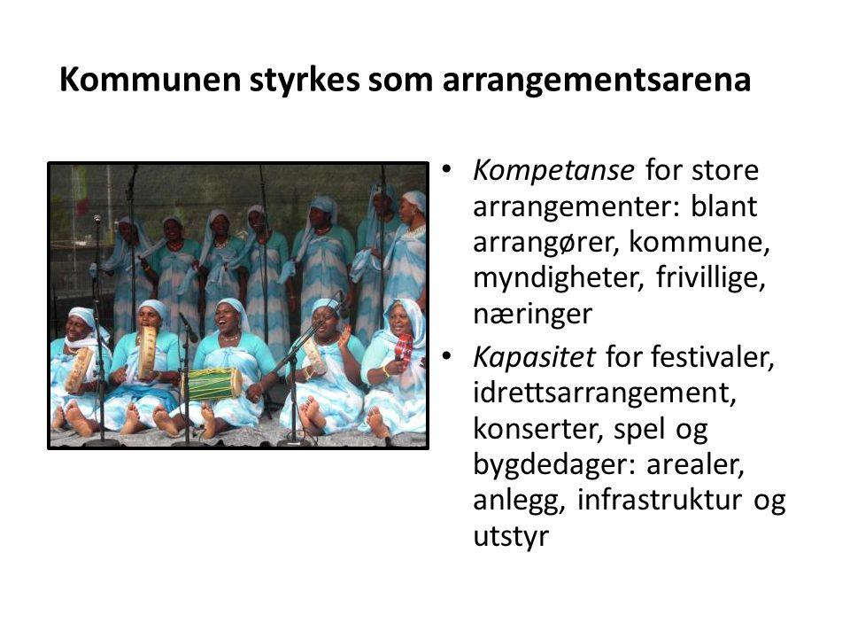• Kompetanse for store arrangementer: blant arrangører, kommune, myndigheter, frivillige, næringer • Kapasitet for festivaler, idrettsarrangement, kon