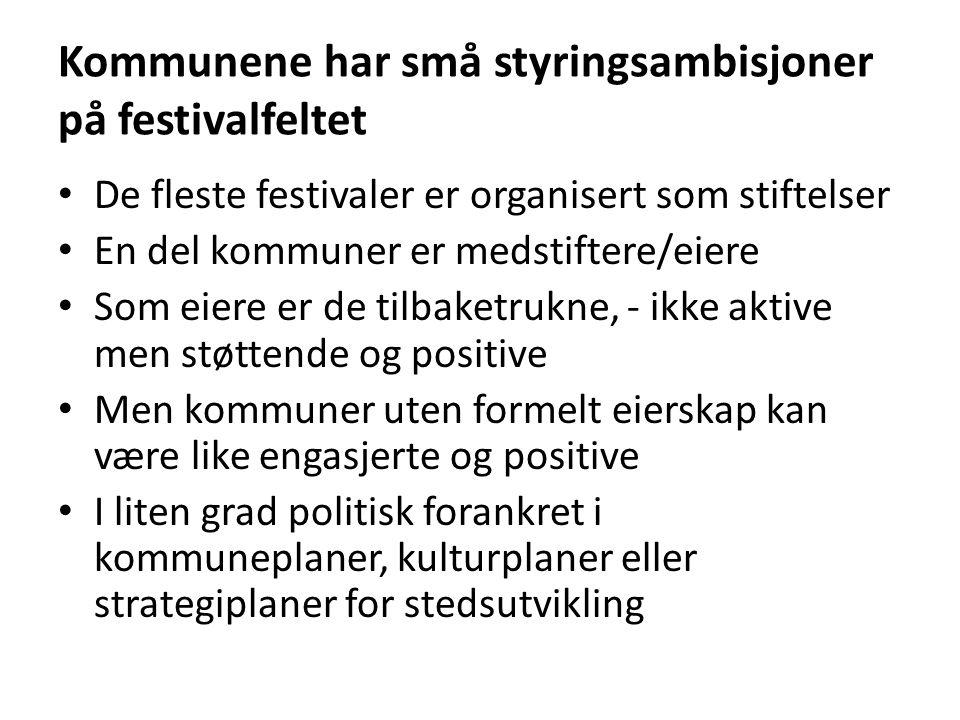 Kommunene har små styringsambisjoner på festivalfeltet • De fleste festivaler er organisert som stiftelser • En del kommuner er medstiftere/eiere • So