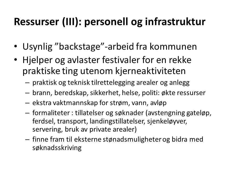 """Ressurser (III): personell og infrastruktur • Usynlig """"backstage""""-arbeid fra kommunen • Hjelper og avlaster festivaler for en rekke praktiske ting ute"""