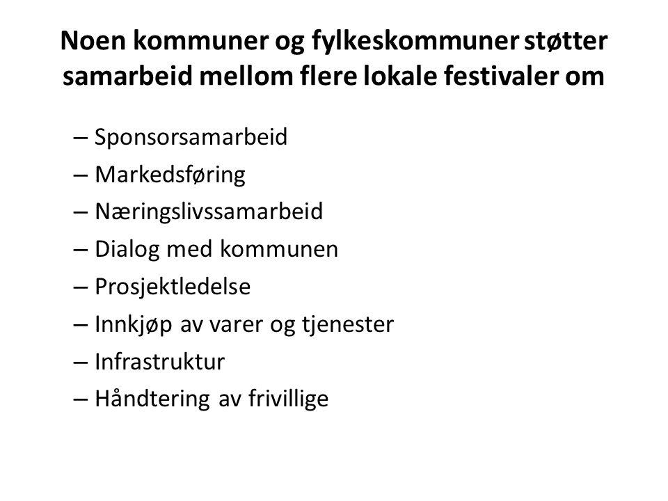 Noen kommuner og fylkeskommuner støtter samarbeid mellom flere lokale festivaler om – Sponsorsamarbeid – Markedsføring – Næringslivssamarbeid – Dialog