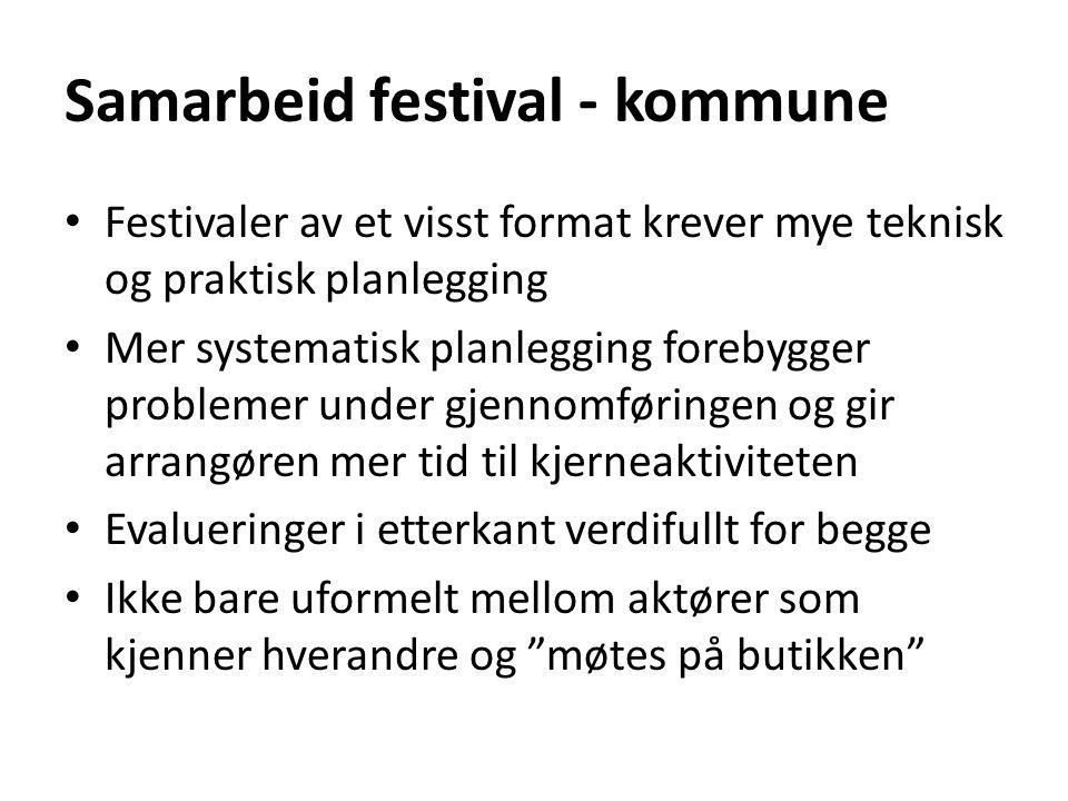 Samarbeid festival - kommune • Festivaler av et visst format krever mye teknisk og praktisk planlegging • Mer systematisk planlegging forebygger probl