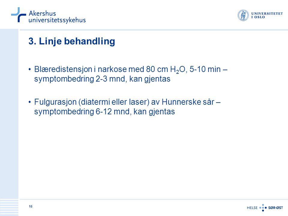 16 3. Linje behandling •Blæredistensjon i narkose med 80 cm H 2 O, 5-10 min – symptombedring 2-3 mnd, kan gjentas •Fulgurasjon (diatermi eller laser)