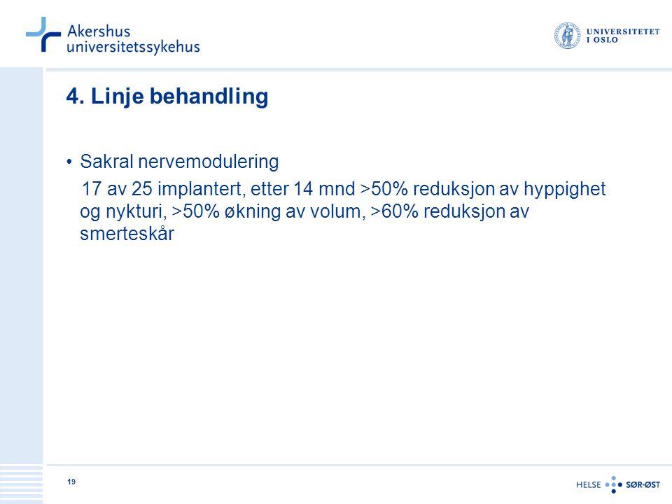 19 4. Linje behandling •Sakral nervemodulering 17 av 25 implantert, etter 14 mnd >50% reduksjon av hyppighet og nykturi, >50% økning av volum, >60% re