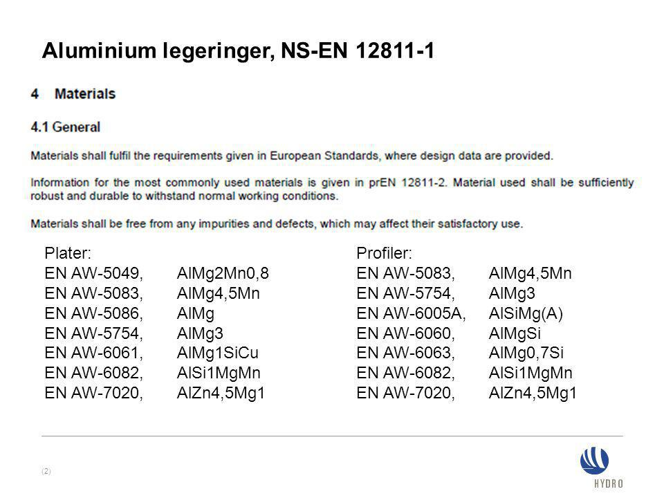 Aluminium legeringer, NS-EN 12811-1 (2) Plater: EN AW-5049, AlMg2Mn0,8 EN AW-5083, AlMg4,5Mn EN AW-5086, AlMg EN AW-5754, AlMg3 EN AW-6061, AlMg1SiCu