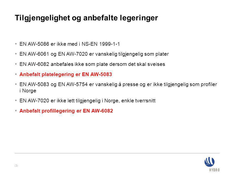 Tilgjengelighet og anbefalte legeringer • EN AW-5086 er ikke med i NS-EN 1999-1-1 • EN AW-6061 og EN AW-7020 er vanskelig tilgjengelig som plater • EN