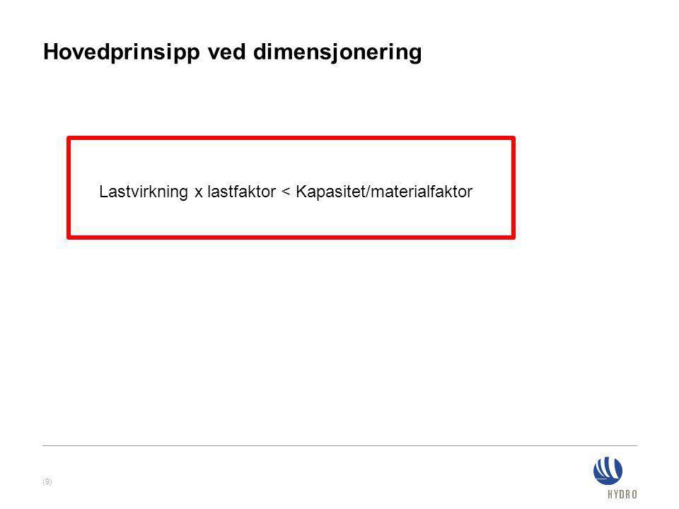 Hovedprinsipp ved dimensjonering (9) Lastvirkning x lastfaktor < Kapasitet/materialfaktor