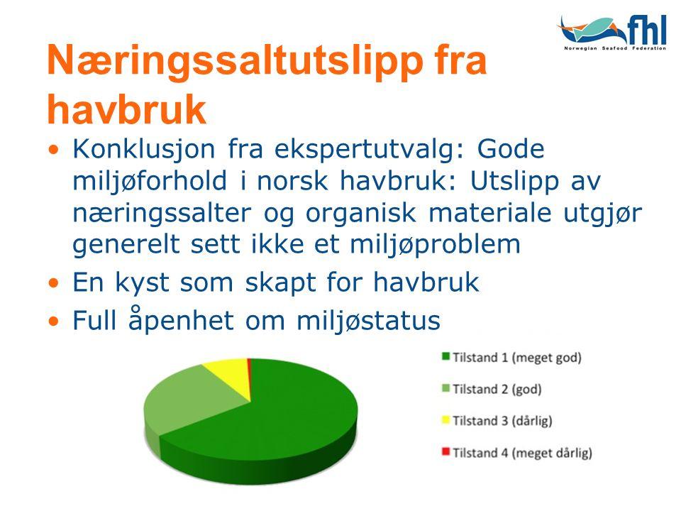 Næringssaltutslipp fra havbruk •Konklusjon fra ekspertutvalg: Gode miljøforhold i norsk havbruk: Utslipp av næringssalter og organisk materiale utgjør