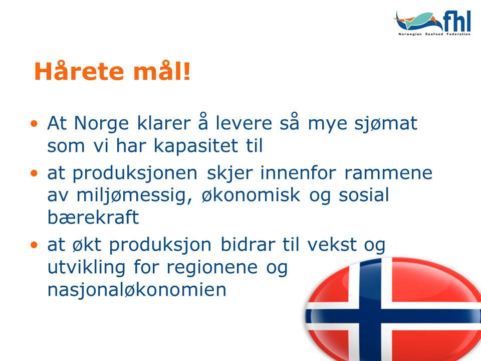 Hårete mål! •At Norge klarer å levere så mye sjømat som vi har kapasitet til •at produksjonen skjer innenfor rammene av miljømessig, økonomisk og sosi