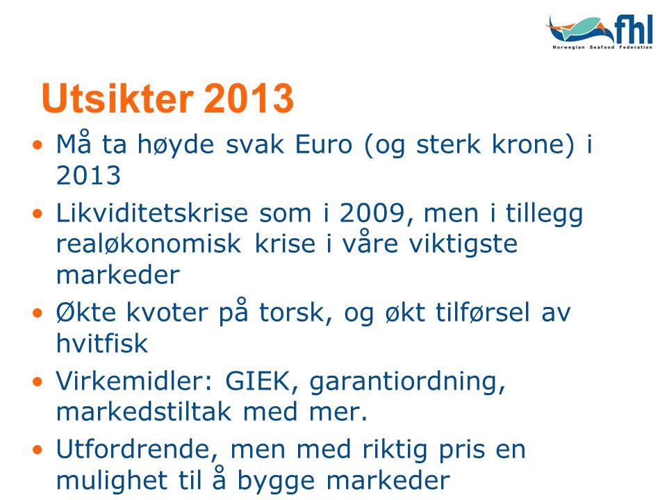 Utsikter 2013 •Må ta høyde svak Euro (og sterk krone) i 2013 •Likviditetskrise som i 2009, men i tillegg realøkonomisk krise i våre viktigste markeder •Økte kvoter på torsk, og økt tilførsel av hvitfisk •Virkemidler: GIEK, garantiordning, markedstiltak med mer.