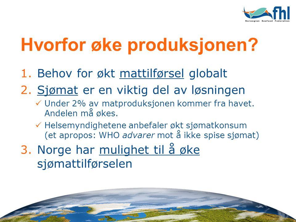 Hvorfor øke produksjonen? 1.Behov for økt mattilførsel globalt 2.Sjømat er en viktig del av løsningen  Under 2% av matproduksjonen kommer fra havet.