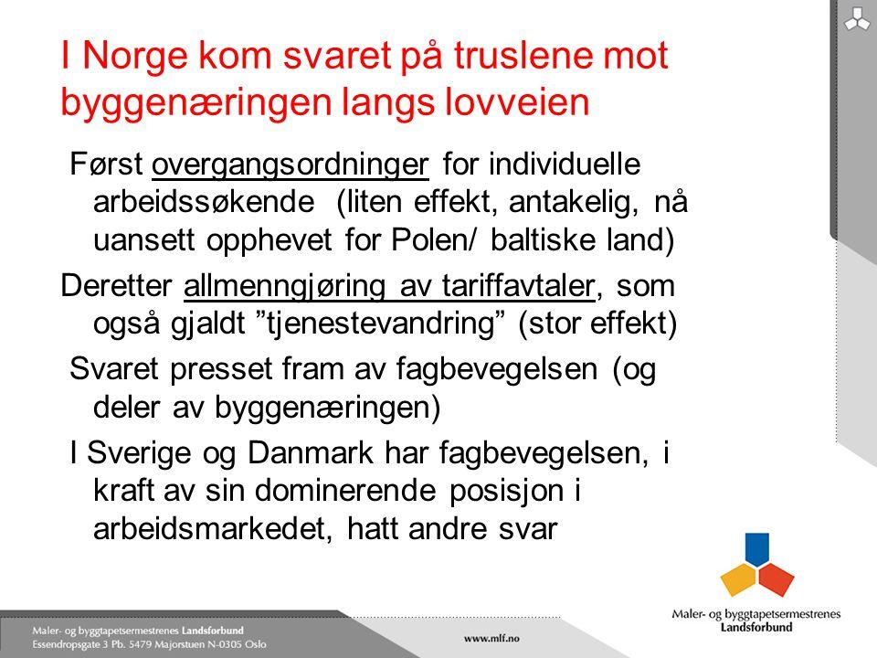 I Norge kom svaret på truslene mot byggenæringen langs lovveien Først overgangsordninger for individuelle arbeidssøkende (liten effekt, antakelig, nå