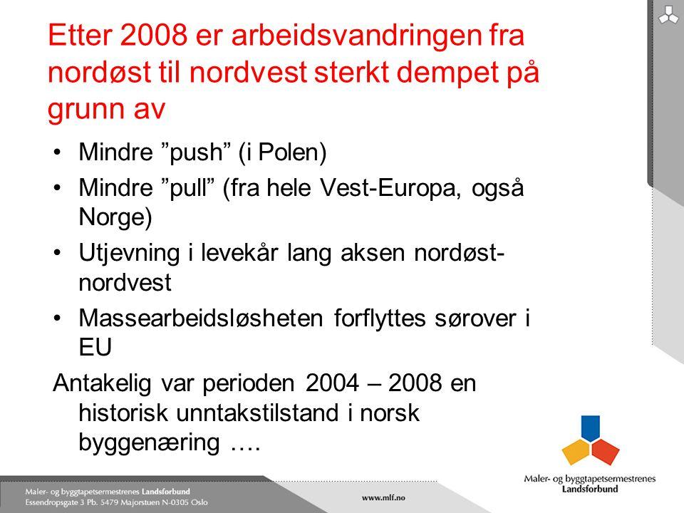 """Etter 2008 er arbeidsvandringen fra nordøst til nordvest sterkt dempet på grunn av •Mindre """"push"""" (i Polen) •Mindre """"pull"""" (fra hele Vest-Europa, også"""
