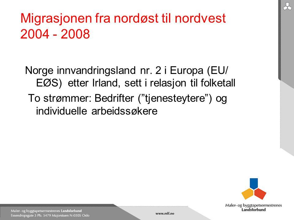 Migrasjonen fra nordøst til nordvest 2004 - 2008 Norge innvandringsland nr. 2 i Europa (EU/ EØS) etter Irland, sett i relasjon til folketall To strømm
