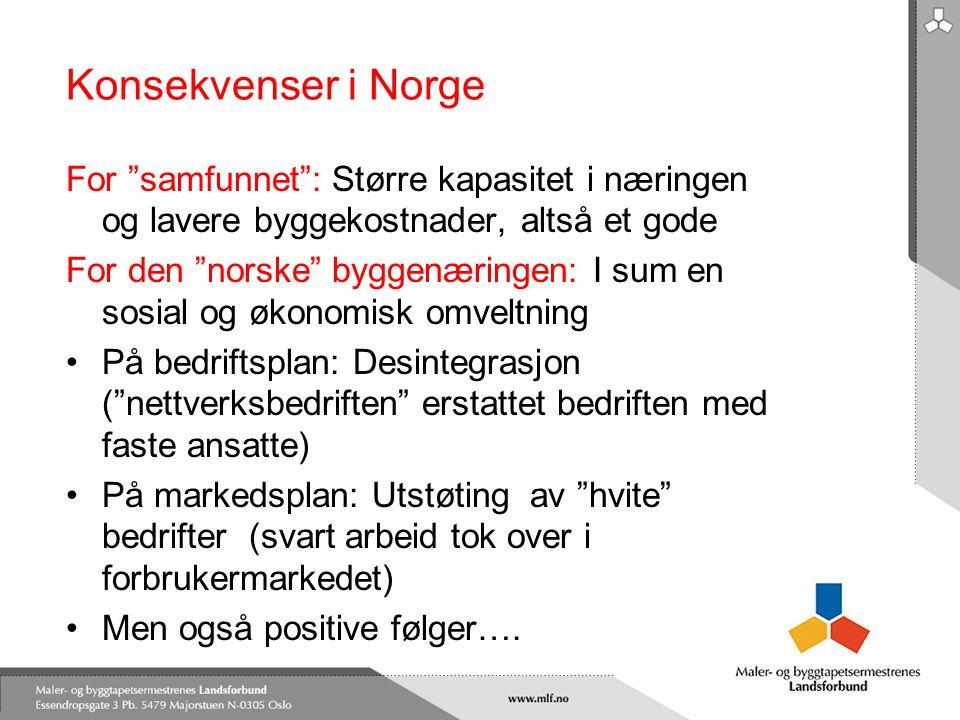 """Konsekvenser i Norge For """"samfunnet"""": Større kapasitet i næringen og lavere byggekostnader, altså et gode For den """"norske"""" byggenæringen: I sum en sos"""