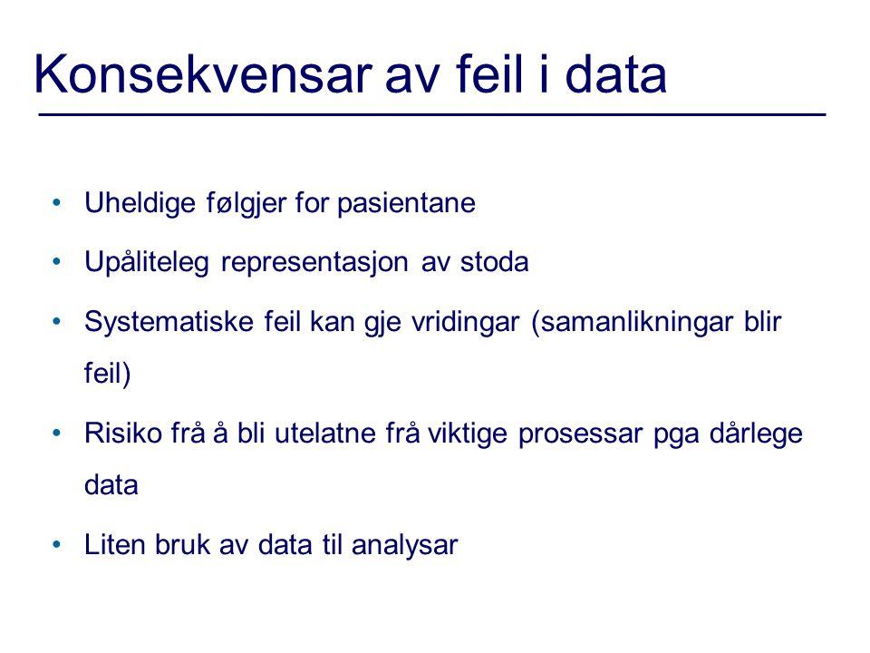 Konsekvensar av feil i data •Uheldige følgjer for pasientane •Upåliteleg representasjon av stoda •Systematiske feil kan gje vridingar (samanlikningar