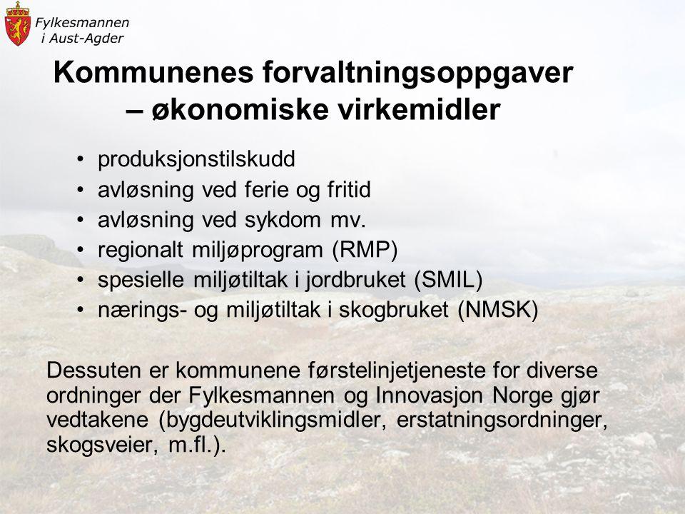 Kommunenes forvaltningsoppgaver – økonomiske virkemidler •produksjonstilskudd •avløsning ved ferie og fritid •avløsning ved sykdom mv.