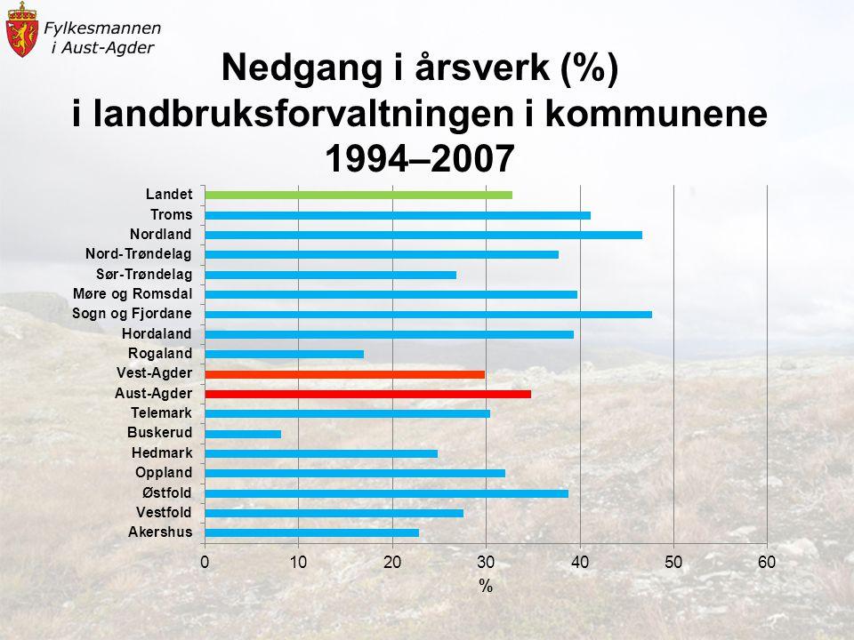 Nedgang i årsverk (%) i landbruksforvaltningen i kommunene 1994–2007