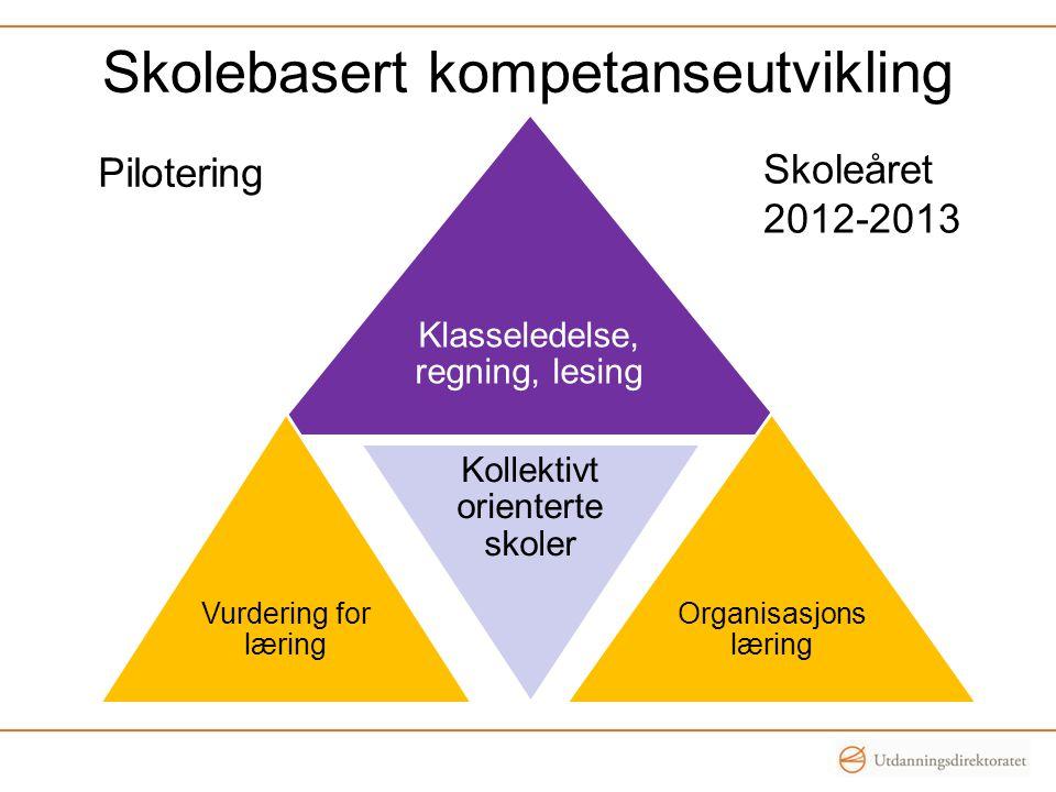 Skolebasert kompetanseutvikling Klasseledelse, regning, lesing Vurdering for læring Kollektivt orienterte skoler Organisasjons læring Pilotering Skole