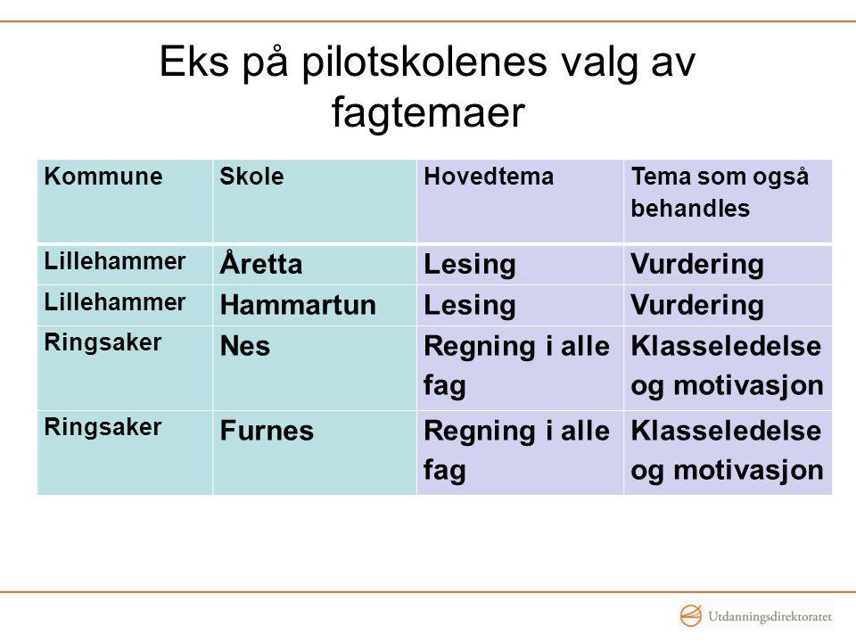Eks på pilotskolenes valg av fagtemaer KommuneSkoleHovedtema Tema som også behandles Lillehammer ÅrettaLesingVurdering Lillehammer HammartunLesingVurd