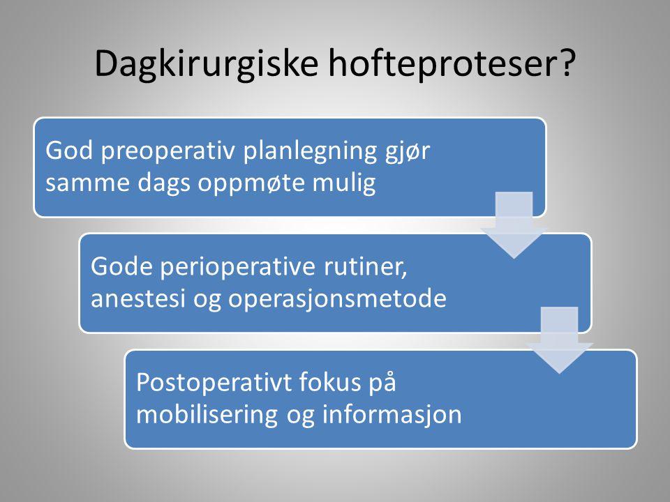 Dagkirurgiske hofteproteser? God preoperativ planlegning gjør samme dags oppmøte mulig Gode perioperative rutiner, anestesi og operasjonsmetode Postop