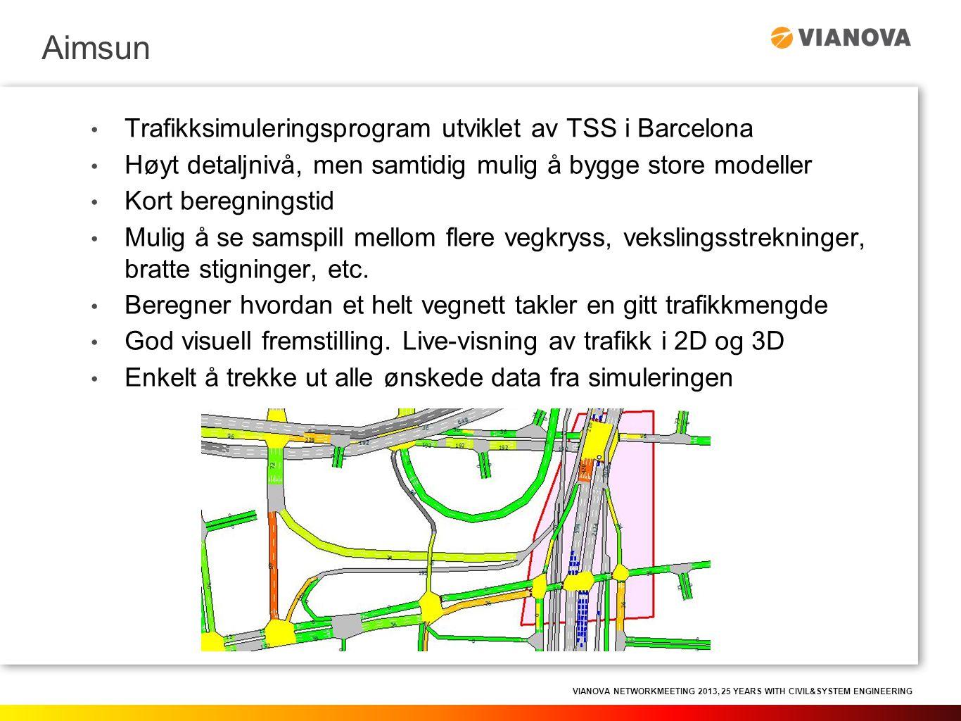 VIANOVA NETWORKMEETING 2013, 25 YEARS WITH CIVIL&SYSTEM ENGINEERING • Trafikksimuleringsprogram utviklet av TSS i Barcelona • Høyt detaljnivå, men sam