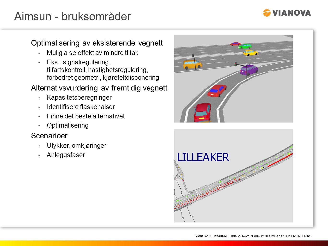 VIANOVA NETWORKMEETING 2013, 25 YEARS WITH CIVIL&SYSTEM ENGINEERING • Modellen mates med trafikketterspørsel, vegnett og soner • Trafikketterspørsel gis i OD-matrise  Posisjon til hvert enkelt kjøretøy beregnes hvert sekund (eller annet valgfritt beregningsintervall) • Utviklet i Spania  mange parametere som må tilpasses norske forhold Hvordan det virker