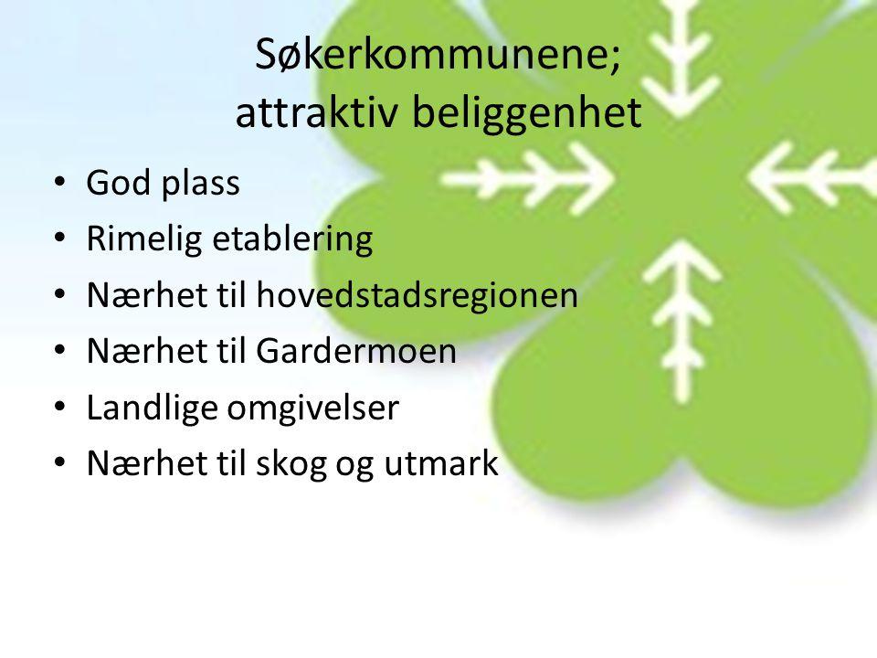 Utfordringer hos søkerkommunene • Nærhet til Gardermoen • Nærhet til Osloregionen • Stor befolkningsvekst • Høy pendlerandel • Stort press på dyrka- og dyrkbar mark • Stor belastning på pendlerne som følge av lang reisetid