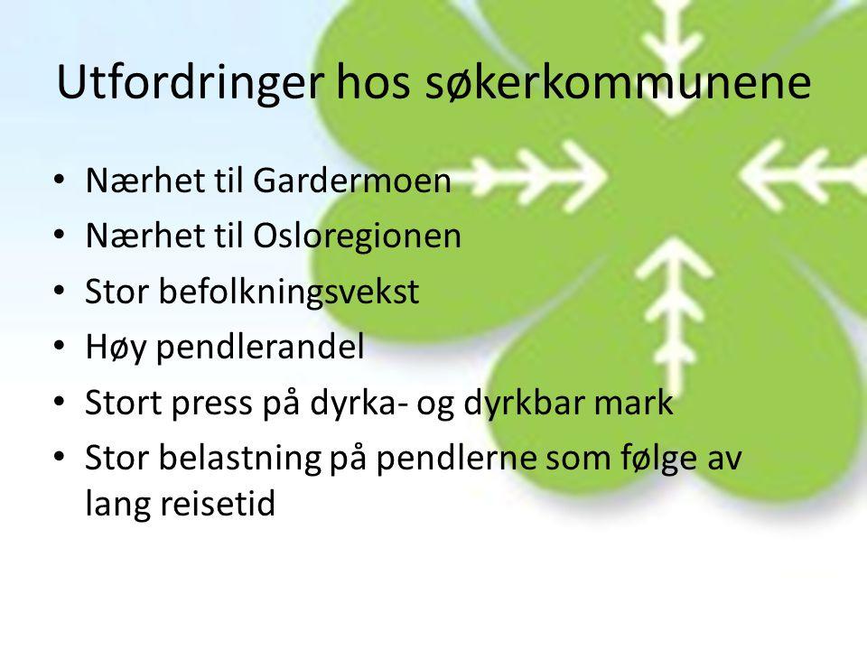 Utfordringer hos søkerkommunene • Nærhet til Gardermoen • Nærhet til Osloregionen • Stor befolkningsvekst • Høy pendlerandel • Stort press på dyrka- o