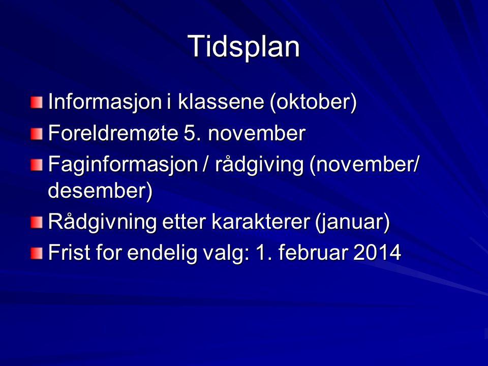 Tidsplan Informasjon i klassene (oktober) Foreldremøte 5. november Faginformasjon / rådgiving (november/ desember) Rådgivning etter karakterer (januar