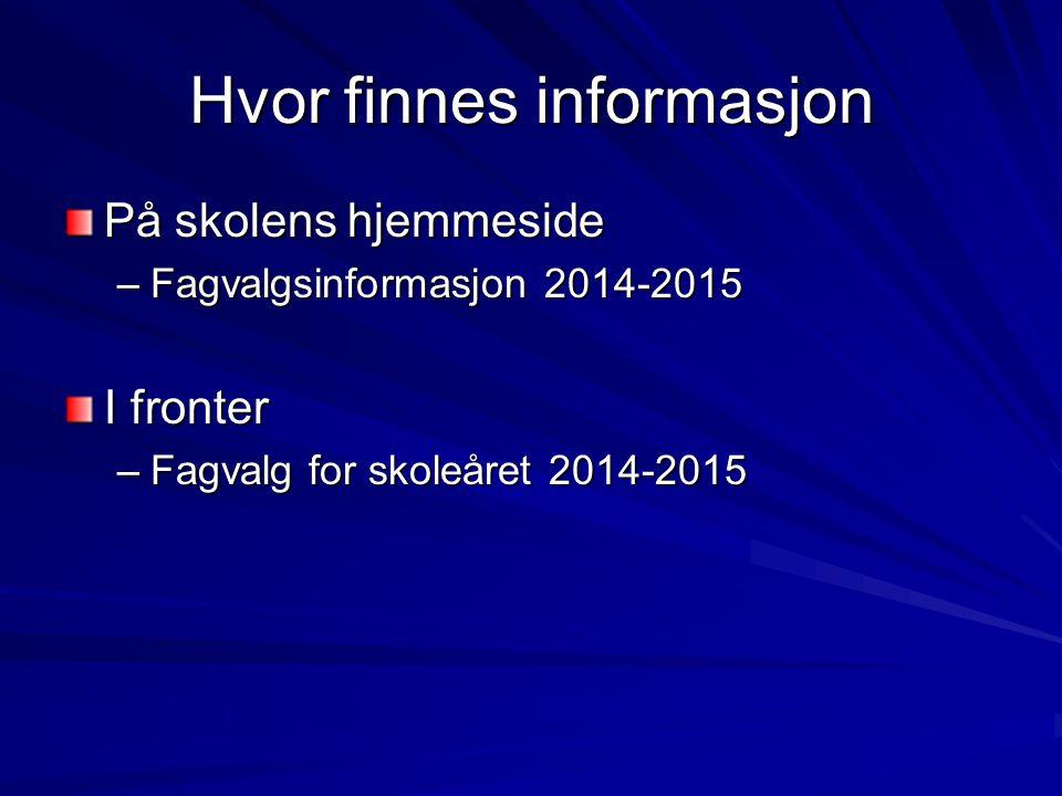 Hvor finnes informasjon På skolens hjemmeside –Fagvalgsinformasjon 2014-2015 I fronter –Fagvalg for skoleåret 2014-2015