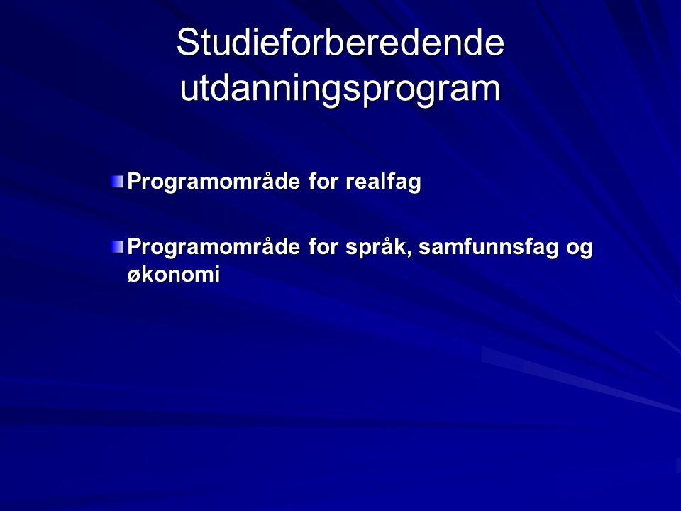 Struktur: Studiespesialisering -programområde for realfag og programområde for språk, samfunnsfag og økonomi Vg1Vg2Vg3 Fellesfag: 30t/u (norsk, matematikk, engelsk,2.
