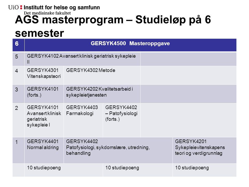 AGS masterprogram – Studieløp på 6 semester 6 GERSYK4500 Masteroppgave 5 GERSYK4102 Avansert klinisk geriatrisk sykepleie II 4 GERSYK4301 Vitenskapste