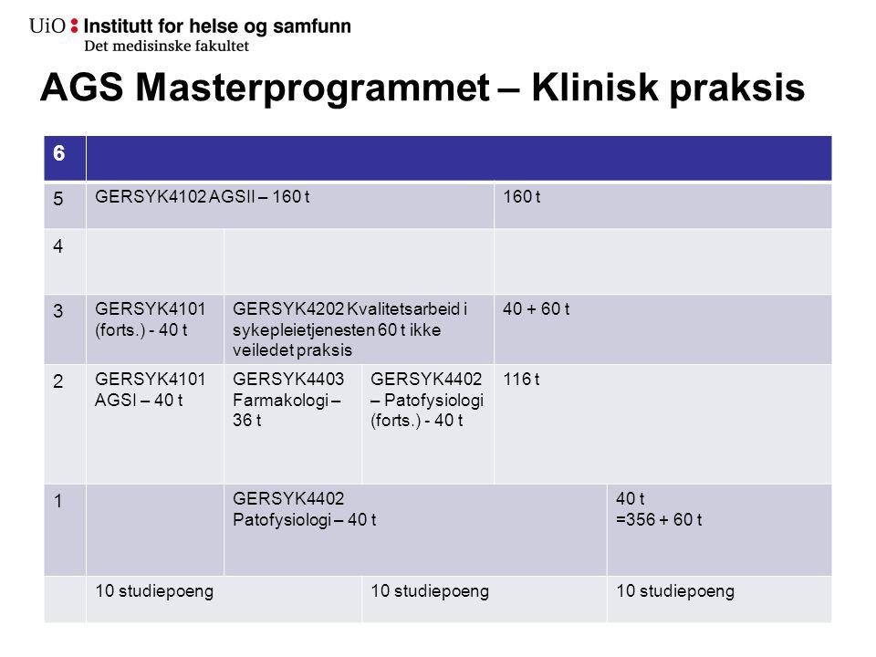 AGS Masterprogrammet – Klinisk praksis 6 5 GERSYK4102 AGSII – 160 t160 t 4 3 GERSYK4101 (forts.) - 40 t GERSYK4202 Kvalitetsarbeid i sykepleietjenesten 60 t ikke veiledet praksis 40 + 60 t 2 GERSYK4101 AGSI – 40 t GERSYK4403 Farmakologi – 36 t GERSYK4402 – Patofysiologi (forts.) - 40 t 116 t 1 GERSYK4402 Patofysiologi – 40 t 40 t =356 + 60 t 10 studiepoeng
