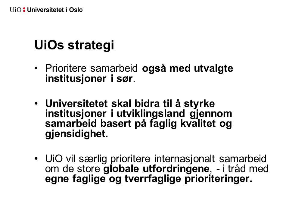 UiOs strategi •Prioritere samarbeid også med utvalgte institusjoner i sør. •Universitetet skal bidra til å styrke institusjoner i utviklingsland gjenn