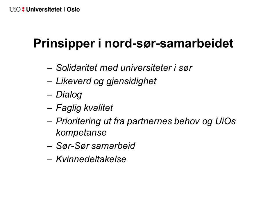 Prinsipper i nord-sør-samarbeidet –Solidaritet med universiteter i sør –Likeverd og gjensidighet –Dialog –Faglig kvalitet –Prioritering ut fra partner