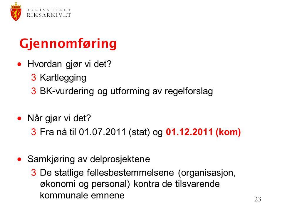 23 Gjennomføring  Hvordan gjør vi det? 3Kartlegging 3BK-vurdering og utforming av regelforslag  Når gjør vi det? 3Fra nå til 01.07.2011 (stat) og 01