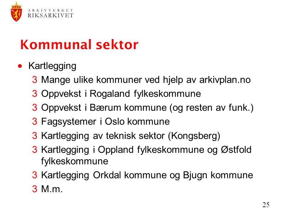 25 Kommunal sektor  Kartlegging 3Mange ulike kommuner ved hjelp av arkivplan.no 3Oppvekst i Rogaland fylkeskommune 3Oppvekst i Bærum kommune (og rest