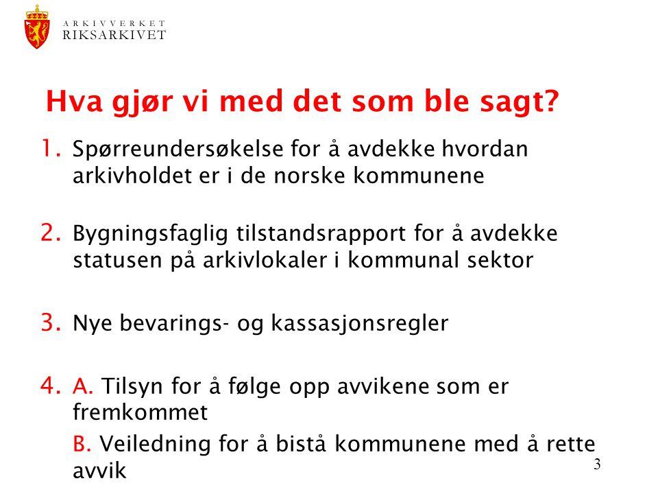3 Hva gjør vi med det som ble sagt? 1. Spørreundersøkelse for å avdekke hvordan arkivholdet er i de norske kommunene 2. Bygningsfaglig tilstandsrappor