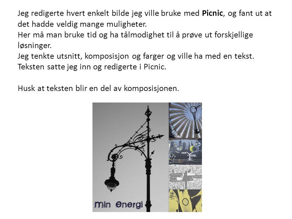 Jeg redigerte hvert enkelt bilde jeg ville bruke med Picnic, og fant ut at det hadde veldig mange muligheter. Her må man bruke tid og ha tålmodighet t
