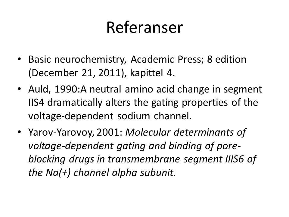 Referanser • Basic neurochemistry, Academic Press; 8 edition (December 21, 2011), kapittel 4. • Auld, 1990:A neutral amino acid change in segment IIS4