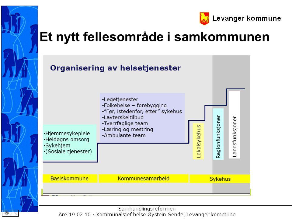 Samhandlingsreformen Åre 19.02.10 - Kommunalsjef helse Øystein Sende, Levanger kommune Et nytt fellesområde i samkommunen