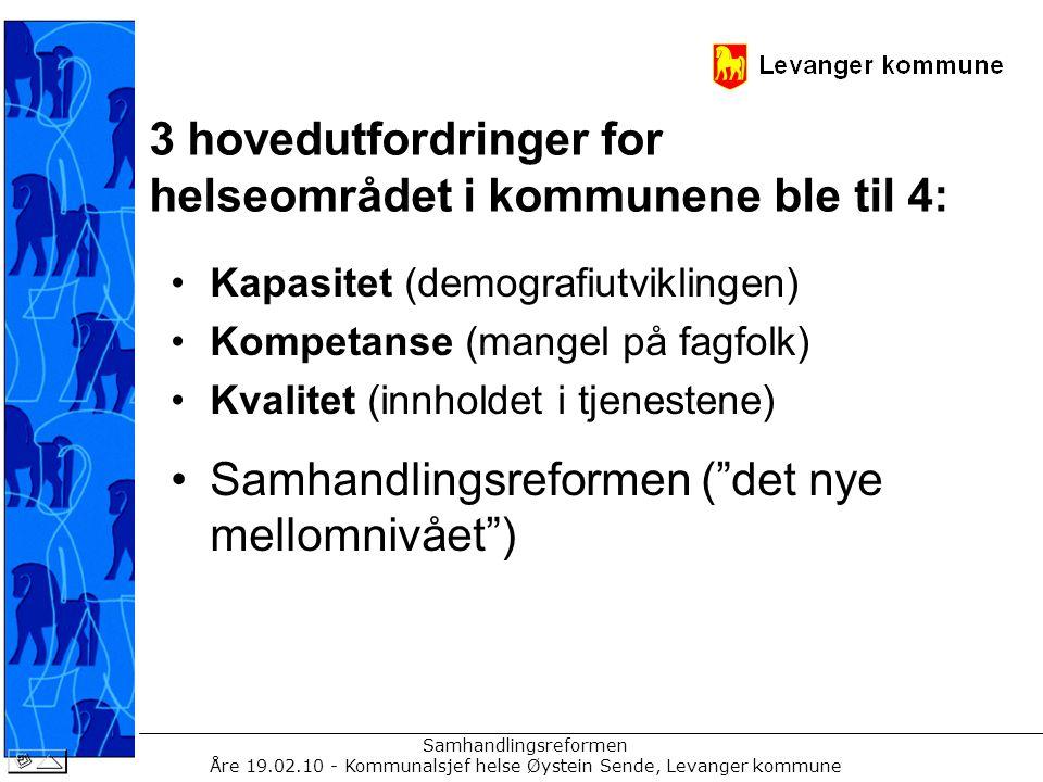Samhandlingsreformen Åre 19.02.10 - Kommunalsjef helse Øystein Sende, Levanger kommune Demografiutviklingen nasjonalt