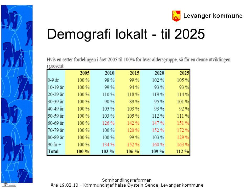 Samhandlingsreformen Åre 19.02.10 - Kommunalsjef helse Øystein Sende, Levanger kommune Demografi lokalt - til 2025
