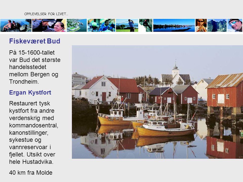 OPPLEVELSER FOR LIVET… Fiskeværet Bud På 15-1600-tallet var Bud det største handelsstedet mellom Bergen og Trondheim. Ergan Kystfort Restaurert tysk k