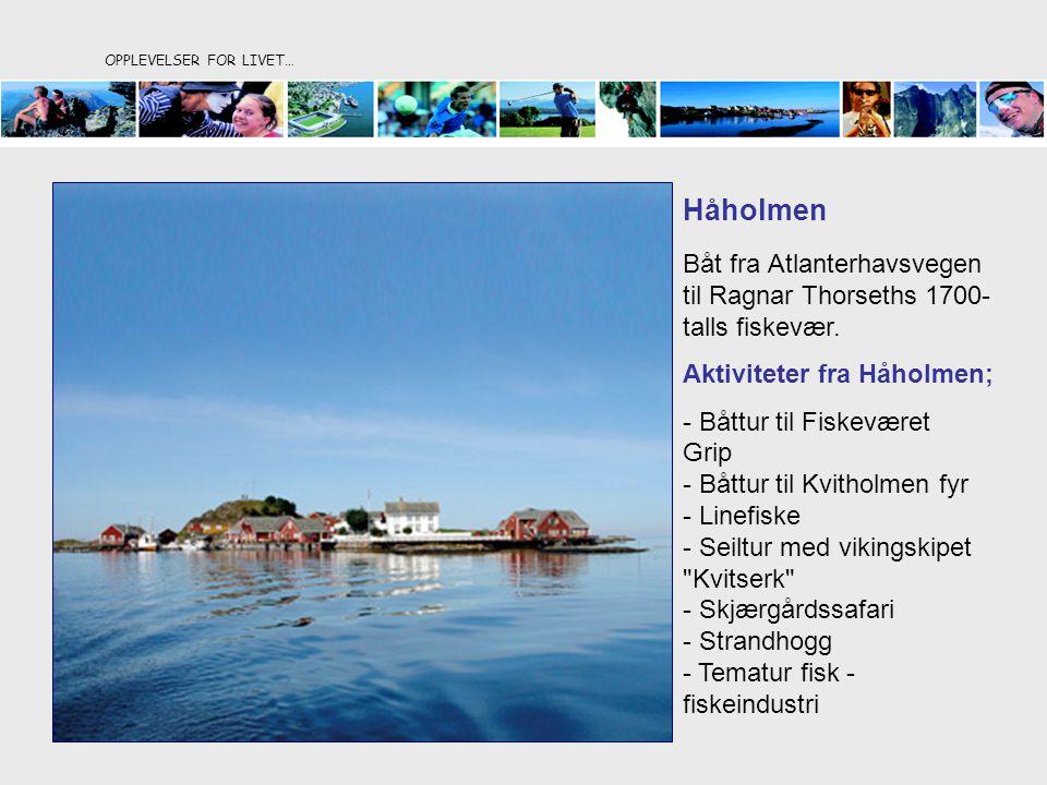 OPPLEVELSER FOR LIVET… Håholmen Båt fra Atlanterhavsvegen til Ragnar Thorseths 1700- talls fiskevær. Aktiviteter fra Håholmen; - Båttur til Fiskeværet